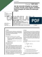 NBR 08892 - Tubo de concreto simples ou armado de secao circular para esgoto sanitario - Determin