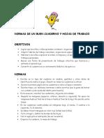NORMAS DE UN BUEN CUADERNO Y HOJAS DE TRABAJO