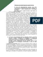 Métodos e Técnicas de Investigação Quantitativa