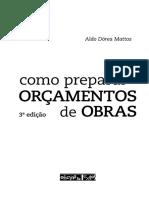 Livro Como Preparar ORÇAMENTOS. de OBRAS. Aldo Dórea Mattos. 3ª Edição
