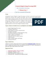 International Journal of Signal & Image Processing (IJSP)