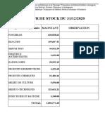Valeur de Stock Du 31-12-2020