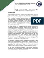 PLAN de PREPARACION Y RESPUESTA POSIBLE SEGUNDA OLA PANDÉMICA POR COVID-19. apurimac