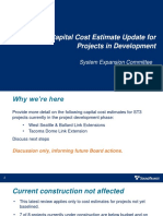 Sound Transit - Capital Cost Estimate Update for Projects in Development - Sound Transit