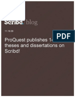 ProQuest publishes 14,000+ theses and dissertations on Scribd, Scribd Blog, 12.16.09