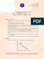 Thermodynamique II Examens Corr 06