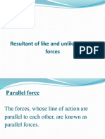 resultant of like and unlike parallel forces