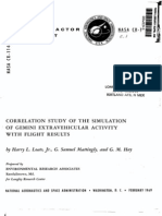 Correlation Study of the Simulation of Gemini Extravehicular Activity With Flight Results