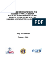 How Can Government Ensure the Success of Private Sector Participation in Infrastructure Results 2