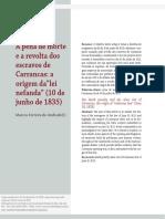 ANDRADe, Marcos Ferreira de. Revolta de Carrancas e a Lei Nefanda - Pena de Morte a Escravos 1835