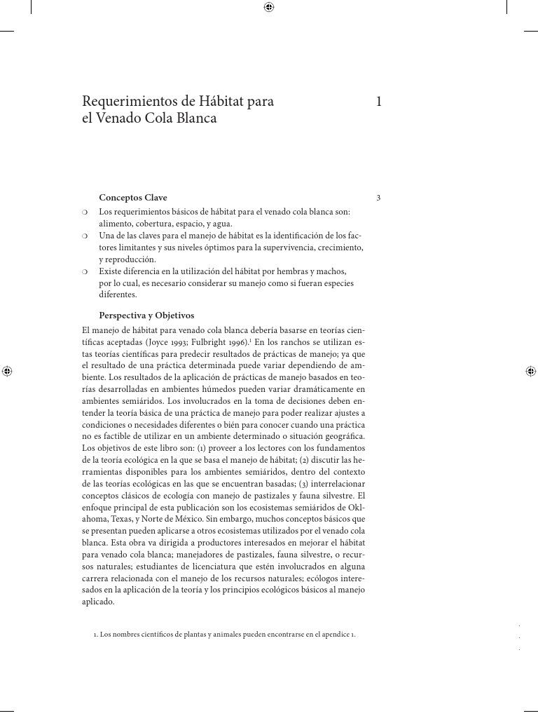 REQUERIMIENTOS DE HABITAT PARA EL VENADO COLA BLANCA