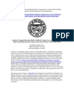 Arizona Proposed Law SB1308 - Unconstitutional and Not in Best Interests of USA