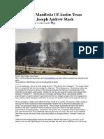 The Insane Manifesto Of Austin Texas Crash Pilot Joseph Andrew Stack