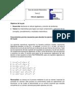 Guía de Estudio Matemática Tema 2 Cálculo Algebraico
