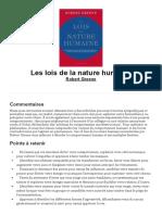 Robert Greene -Les Lois de La Nature Humaine