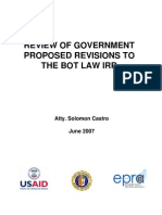 Review of Government Proposed Revision to the Bot Law Irr