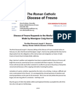 Diocese of Fresno Responds to the Media Statement Made by Monsignor Craig Harrison