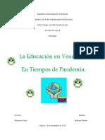 la educacion en venezuela en tiempos de pandemia