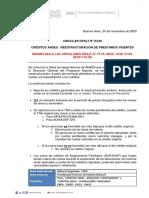 CIRCULAR DPAyT N 83-20 Créditos Anses. Reestructuración de Préstamos Vigentes