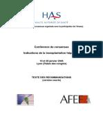 Recommandations - Indications de la transplantation hépatique (2005)