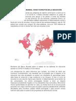 EMERGENCIAS MUNDIAL COVID 19 EFECTOS EN LA EDUCACIÓN
