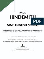 Hindemith Nine English Songs Score