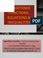 Logarithmic Functions Equations and Inequalities