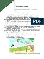 Ficha de trab. port. excerto da fábula a cegonha e a tartaruga
