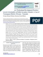 Influence of Teachers' Professional Development Practices on Job Performance in Public Secondary Schools