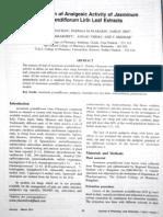 Evaluation of Analgesic Activity of Jasminum rum Linn Leaf Extract