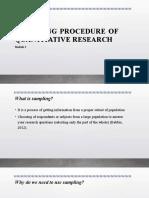 Sampling Procedure in QNR