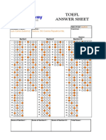 TOEFL ANSWER SHEET
