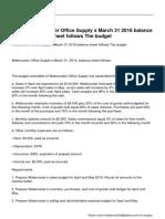 Watercooler Office Supply s March 31 2016 Balance Sheet Follows the Budget
