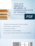 Critical Reading as Looking for Ways of Thinking (2)