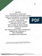 Cancellieri F., Lettera di Francesco Cancellieri con la relazione di Francesco Valesio sopra lo scoprimento e la traslazione della Colonna di Antonino Pio - 1821