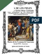 Martes de La I Semana de Cuaresma. Guía de los fieles para la santa misa cantada.  Kyrial XVII