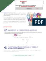 GUIA N°3 MATEMÁTICAS  EXPRESIONES ALGEBRAICAS  803 - JCMR