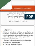 Elaboração de documentos PSICOLOGICOS