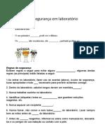 NORMAS E SEGURANÇA EM LABORATÓRIO