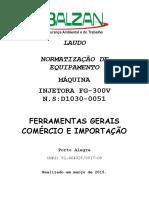 LAUDO INJETORA FG 300V NS D1030-0051