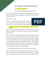 SOBRE LA LEY ORGANICA DE EDUCACION