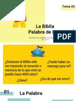 Tema 3. La Biblia Palabra de Dios
