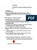 HANDOUT ON THE CONCEPT OF HEALTH EDUCATION AND HEALTH PROMOTION