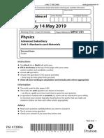 Edexcel IAL May 2019 Unit 01