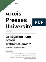 La Négation - La Négation_ Une Notion Problématique__ - Artois Presses Université