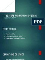 LESSON 1 THE SCOPE AND MEANING OF ETHICS