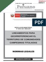 Lineamientos para georreferenciar el territorio de comunidades campesinas tituladas