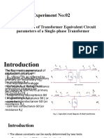 Determination of Transformer Equivalent Circuit parameters of a Single