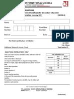 History IG II P1 Terminal Examination 2021