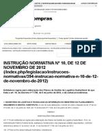 INSTRUÇÃO NORMATIVA Nº 10, DE 12 DE NOVEMBRO DE 2012
